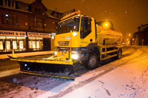 Oldham Council's fleet of gritting lorries at work