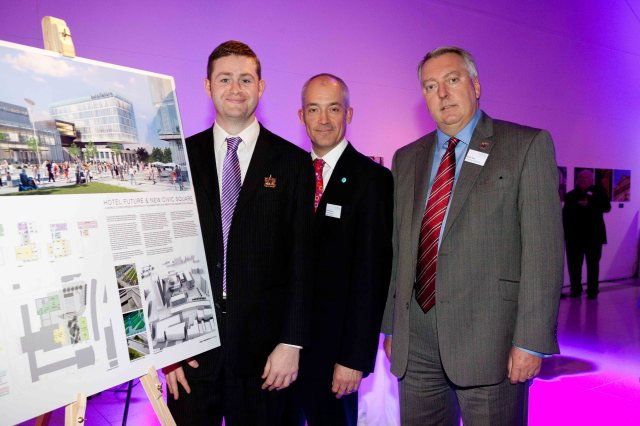 INVEST IN OLDHAM: Councillor McMahon unveiling Hotel Future with Charlie Parker, Chief Executive, and Stephen Miles, Chair of Manchester Hoteliers Association
