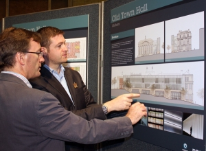 NEW VISION: Council Leader Jim McMahon examining plans for the Old Town Hall in the Egyptian Room with Alan Davies, BDP architect, at the public consultation event.