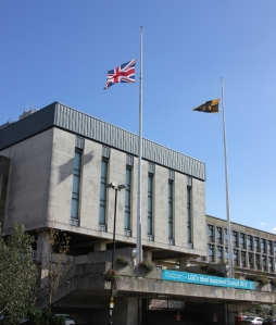 Flag flying at half mast outside the Civic Centre in Oldham.