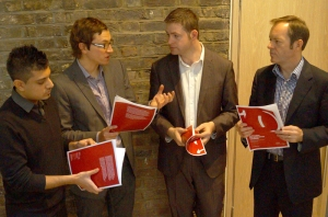 THE CO-OPERATIVE DEAL: Discussing the new RSA report on Oldham Council's progess with (L-R) co-authors Atif Shafique, Ben Lucas, and Jon Cruddas MP.