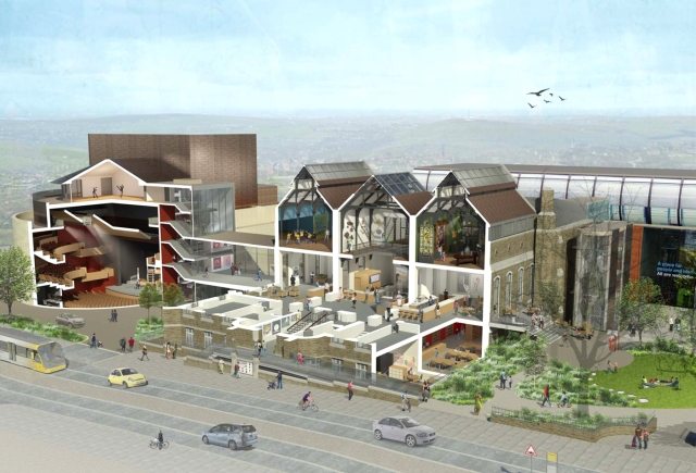 CULTURAL REVOLUTION: A cross-sectional image of the proposed new Oldham Heritage Centre and Oldham Coliseum Theatre.