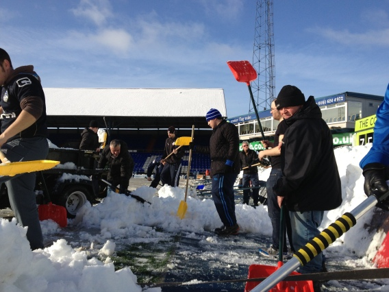 Snow-clearing at Boundary Park