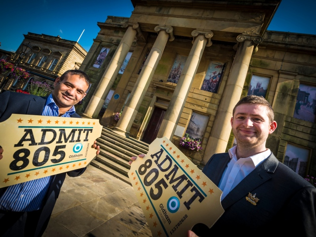 JUST THE TICKET: Council Leader, Jim McMahon, celebrating the Odeon deal on the steps of the Old Town Hall with Shoab Akhtar, Cabinet Member for Business and Town Centres.