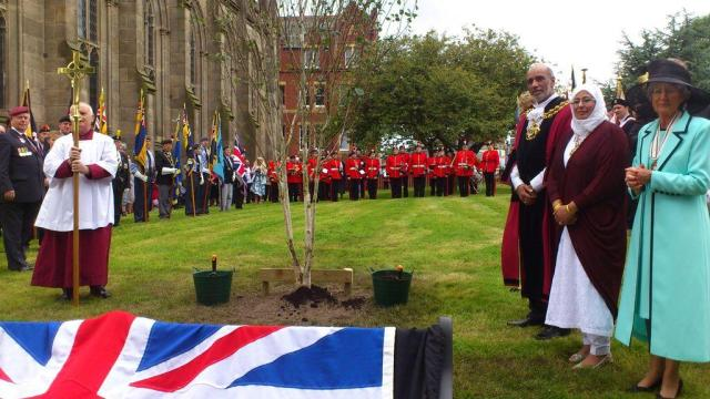 PLANTING: A memorial tree was planted to mark the contribution local people made to the war effort.