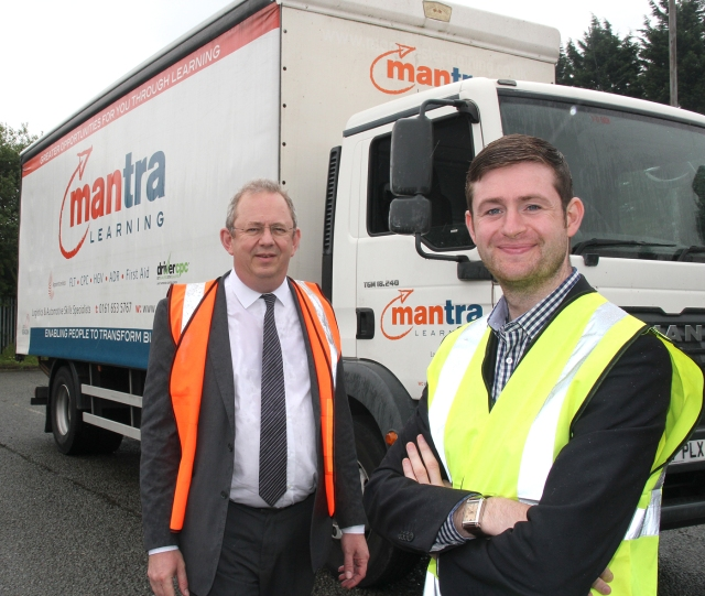 DRIVING AMBITION: Jim McMahon, Oldham Council Leader, launching 'Warehouse to Wheels with Richard Weston, Mantra Learning Limited's Marketing Manager.