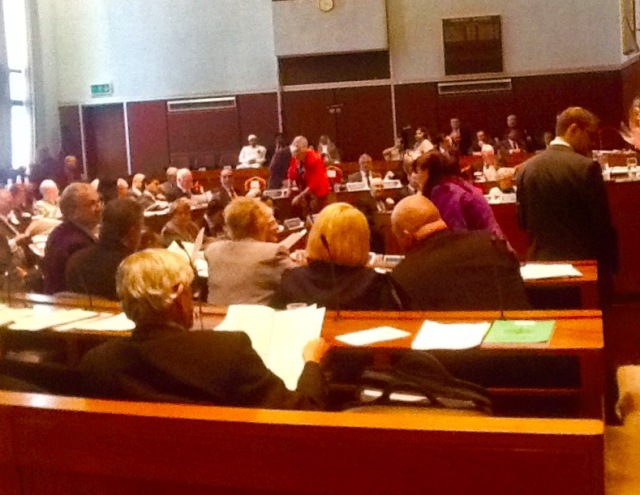 RETURN: Members in the Council Chamber gearing up for the Annual Council meeting.