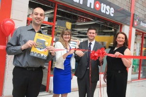 OPEN FOR BUSINESS: At the launch of Our House with Carolyn Wilkins, Chief Executive, Oldham Council, and store staff