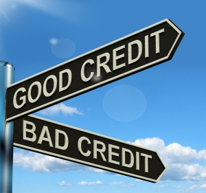 Good Bad Credit Signpost Showing Customer Financial Rating